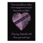 Purple steampunk gears heart engagement party 13 cm x 18 cm invitation card