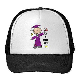 Purple Stick Figure Boy Graduate Trucker Hat