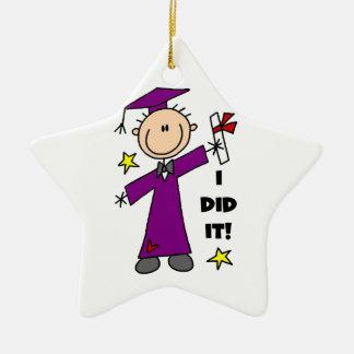 Purple Stick Figure Male Graduate Ceramic Star Decoration