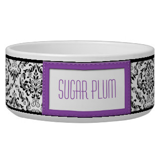 Purple Stitched Label Design Damask Dog Bowl