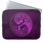 Purple Stone Yin Yang Trees Laptop Sleeve
