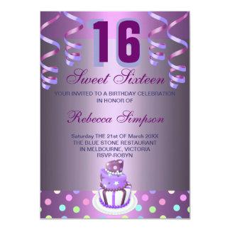 Purple Streamers & Cake Sweet 16 Birthday Invite