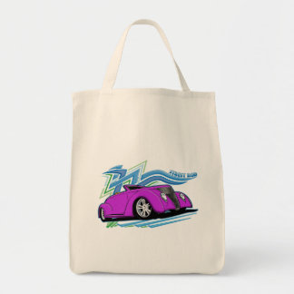Purple Street Rod and Tribal Markings Grocery Tote Bag