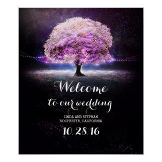 Purple string lights tree wedding poster