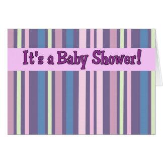 Purple Stripe Baby Shower Invitations