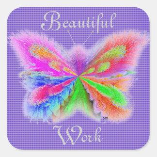 Purple Stripe Butterfly Square Sticker