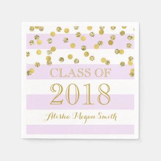 Purple Stripe Gold Confetti  2018 Graduation Paper Napkins