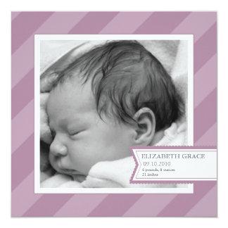 Purple Stripe Photo Birth Announcement