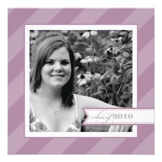 Purple Stripe Photo Graduation Announcement