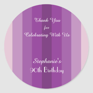 Purple Stripe Thank You Sticker, Personalize Classic Round Sticker