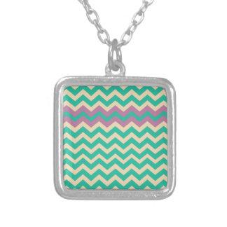 Purple Striped Border Zigzag Square Pendant Necklace