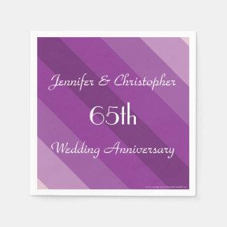 Purple Striped Napkins, 65th Wedding Anniversary Disposable Napkin