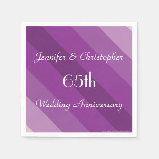 Purple Striped Napkins, 65th Wedding Anniversary Disposable Serviettes
