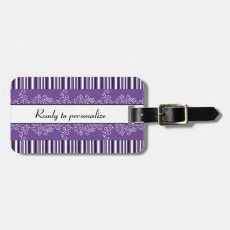 Purple Stripes and Curls Luggage Tag