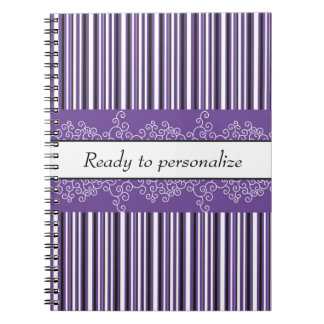 Purple Stripes and Curls Notebook
