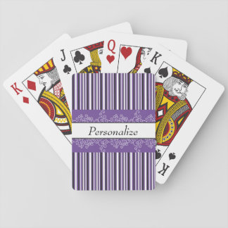 Purple Stripes and Curls Playing Cards