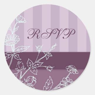 Purple Stripes and Floral RSVP Envelope Seals Round Sticker