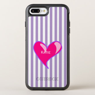 Purple Stripes and Pink Heart iPhone 6 Plus