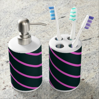 Purple stripes bathroom set