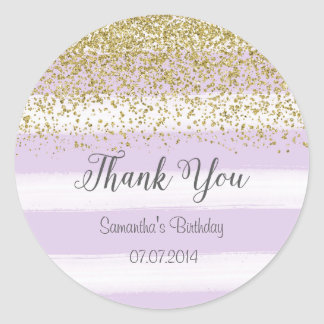 Purple Stripes Birthday Sticker