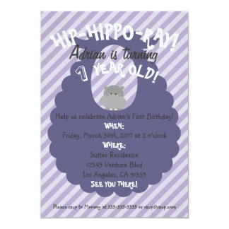 Purple Stripes Hip-Hippo-Ray First Bday Invitation