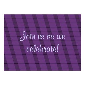 Purple Stripes on More Purple - Anniversary Personalized Announcement