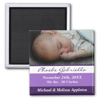 Purple Stripes Photo Birth Announcement Magnet