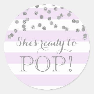 Purple Stripes Silver Confetti She's Ready to Pop Classic Round Sticker