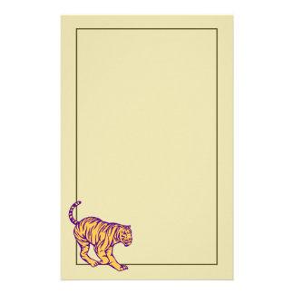 Purple Stripes Wild Cat Tiger Illustration Custom Stationery