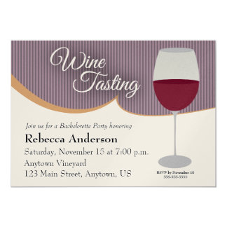 Purple Stripes Wine Tasting Bachelorette Party Card