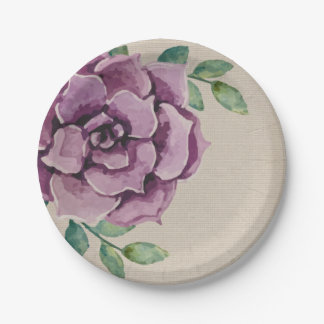 Purple Succulent 7 Inch Paper Plate