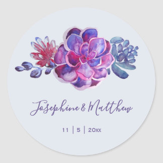 Purple Succulents Wedding Stickers