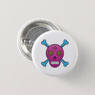 Purple Sugar skull and bones 3 Cm Round Badge