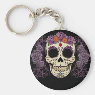 Purple Sugar Skull Basic Round Button Key Ring