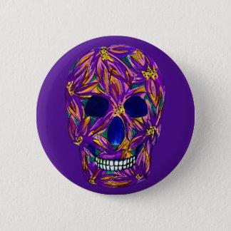 Purple Sugar Skull Button Badge