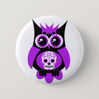 Purple Sugar Skull Owl Button