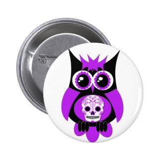 Purple Sugar Skull Owl Button