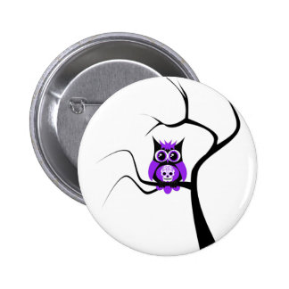 Purple Sugar Skull Owl in Tree Button