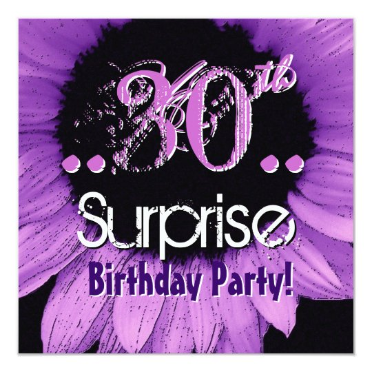 Purple Sunflower 30th Surprise Birthday Template Card