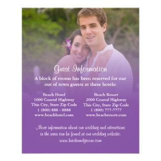 "Purple Sunset Beach Wedding Information Cards 4.5"" X 5.6"" Flyer"