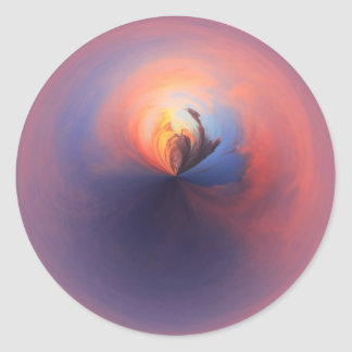 Purple sunset classic round sticker