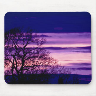 Purple Sunset Tree Silhouette mousepad