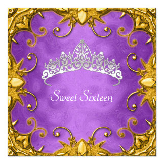 Purple Sweet 16 Birthday Party Gold White Tiara Card