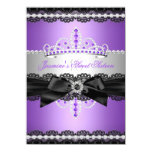 Purple Sweet 16 Birthday Party Silver Black Lace 11 Cm X 16 Cm Invitation Card