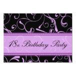 Purple Swirl 18th Birthday Party Invitation Cards 13 Cm X 18 Cm Invitation Card