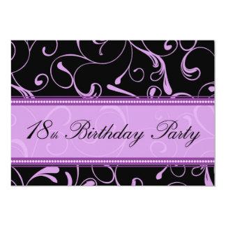purple swirl 18th birthday party invitation cards - 18th Birthday Party Invitations