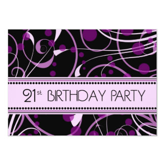 Purple Swirl 21st Birthday Party Invitation Cards