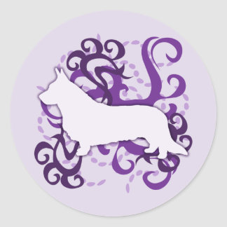 Purple Swirl Cardigan Welsh Corgi Classic Round Sticker