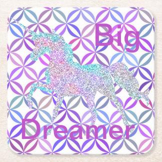 Purple Swirl Colored Unicorn Coasters Big Dreamer