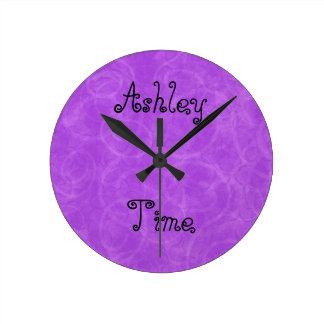 Purple Swirl Custom Name Wall Clock